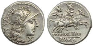 M. Atilius Saranus, Denarius, Rome, 148 BC; ...