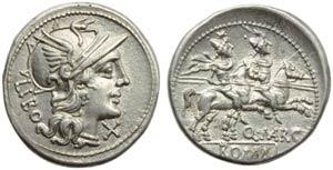 Q. Marcius Libo, Denarius, Rome, 148 BC; AR ...