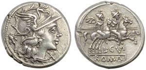 L. Cupiennius, Denarius, Rome, 147 BC; AR (g ...