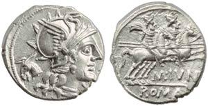 M. Junius Silanus, Denarius, Rome, 145 BC; ...
