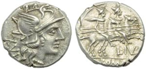 L. Julius, Denarius, Rome, 141 BC; AR (g ...