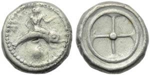 Apulia, Tarentum, Nomos, c. 500-480 BC; AR ...