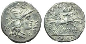 M. Aurelius Cotta, Denarius, Rome, 139 BC; ...