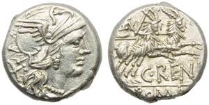 C. Renius, Denarius, Rome, 138 BC; AR (g ...