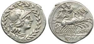 Cn. Gellius, Denarius, Rome, 138 BC; AR (g ...