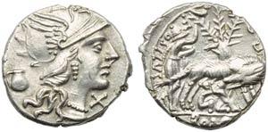 Sex. Pompeius Fostlus, Denarius, Rome, 137 ...