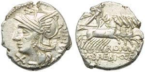 M. Baebius Q.f. Tampilus, Denarius, Rome, ...