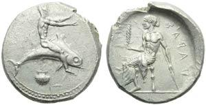 Apulia, Tarantum, Nomos, c. 470-425 BC; AR ...