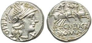 Cn. Lucretius Trio, Denarius, Rome, 136 BC; ...