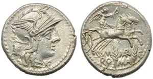 M. Marcius Mn.f., Denarius, Rome, 134 BC; AR ...