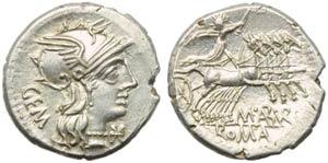 M. Aburius M.f. Geminus, Denarius, Rome, 132 ...