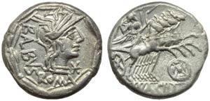 Mn. Acilius Balbus, Denarius, Rome, 125 BC; ...