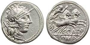 C. Porcius Cato, Denarius, Rome, 123 BC; AR ...