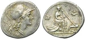 Anonymous, Denarius, Rome, 115 or 114 BC; AR ...