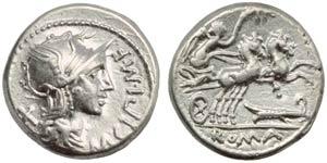 M. Cipius M.f., Denarius, Rome, 115 or 114 ...