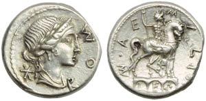 Mn. Aemilius Lepidus, Denarius, Rome, 114 or ...
