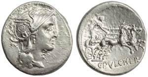 C. Claudius Pulcher, Denarius, Rome, 110 or ...