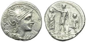 P. Porcius Laeca, Denarius, Rome, 110 or 109 ...
