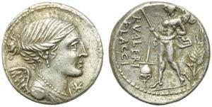 L. Valerius Flaccus, Denarius, Rome, 108 or ...