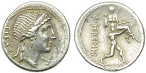 M. Herennius, Denarius, Rome, 108 or 107 BC; ...