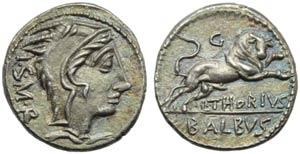 L. Thorius Balbus, Denarius, Rome, 105 BC; ...