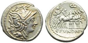C. Fundanius, Denarius, Rome, 101 BC; AR (g ...