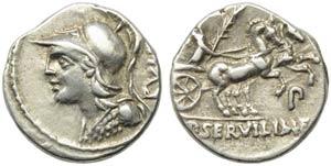 P. Servilius M.f. Rullus, Denarius, Rome, ...