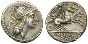 D. Junius Silanus L.f., Denarius, Rome, 91 ...
