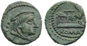 Anonymous, Quadrans, Rome, c. 91 BC; AE (g ...