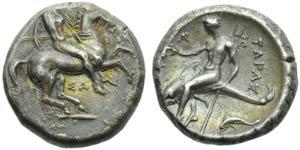 Apulia, Taranto, Nomos, c. 332-302 a.C.; AR ...