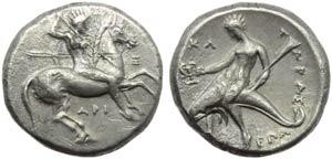 Apulia, Taranto, Nomos, c. 315-302 a.C.; AR ...