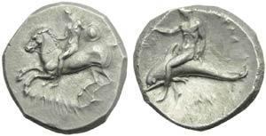 Apulia, Taranto, Nomos, c. 302-280 a.C.; AR ...
