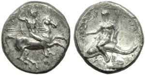 Apulia, Taranto, Nomos, c. 280-272 a.C.; AR ...