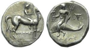 Apulia, Taranto, Nomos, c. 227-240 a.C.; AR ...