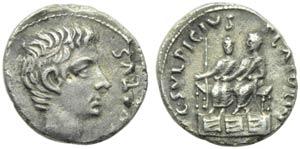 Augustus (27 BC - AD 14), Denarius, Rome, 13 ...
