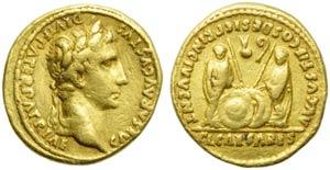 Augustus (27 BC - AD 14), Aureus, Lugdunum, ...