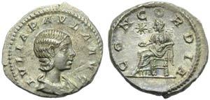 Julia Paula (Elagabalus, 218-222), Denarius, ...