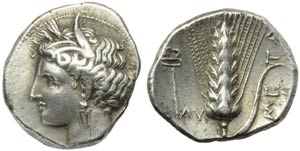 Lucania, Metapontion, Stater, c. 325-280 BC; ...