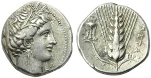 Lucania, Metapontion, Didrachm, c. 225-200 ...