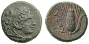 Lucania, Metapontion, Bronze, c. 300-250 BC; ...