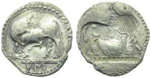 Lucania, Sybaris, Drachm, c. 550-520 BC; AR ...