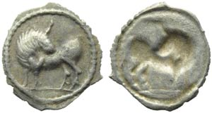 Lucania, Sybaris, Obol, c. 550-510 BC; AR (g ...