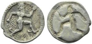 Bruttium, Caulonia, Obol, c. 525-500 BC; AR ...