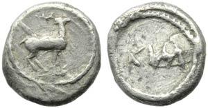 Bruttium, Caulonia, Diobol, c. 475-425 BC; ...