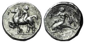 Southern Apulia, Tarentum, c. 385-380 BC. AR ...