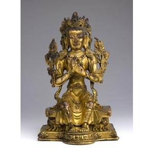 A gild bronze seated Buddha;XIX century; 17 ...