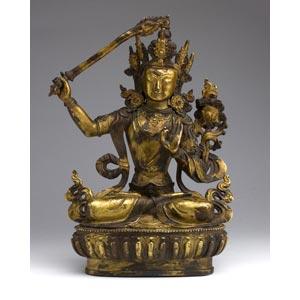 A gild bronze figure of Manjushri;XIX ...