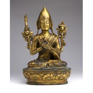 A gild bronze figure of Tsongkhapa;XIX ...