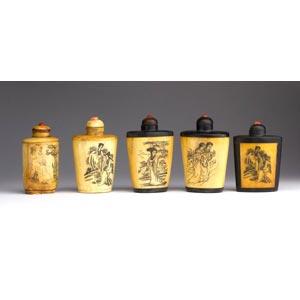 Five bone snuff bottles;XX century; 7,5 cm;