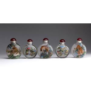 Five painted glass snuf bottles;XX century; ...
